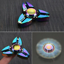 Rainbow EDC Hand Spinner Tri Fidget Focus Desk Toys Anti Stress Colorful Gyro