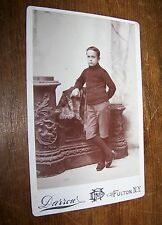 19c ANTIQUE VICTORIAN BOY SWEATER KNICKERS CABINET PHOTO DARROW FULTON NY