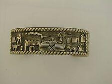 Sterling Silver Bracelet with Engraved Village Design N Sterling