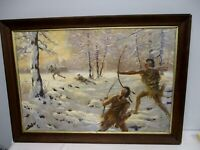 ORIGINAL SIGNED SIDNEY E. KING OIL ON CANVAS PAINTING INDIANS ATTACKING SETTLERS