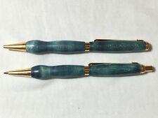 Slimline twist pen & pencil set, blue dyed wood, gold hardware
