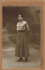 Carte Photo vintage card RPPC Leyssens Louvain femme jupe corsage mode kh0169