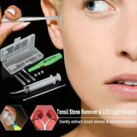 Tonsil Stone Remover Kit LED Light+Stainless Longer Handle kit Pick +Irriga G0M6
