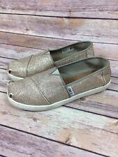 Woman��s Toms Gold Glitter Sparkle Slip On Shoes Size Y-4 = US 5 1/2 EU 36