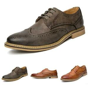 Mens Business Leisure Leather Shoes Work Brogue Wing Tip Carved Lace up Party Sz