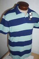 NWT GAP MEN MINT GREEN RUGBY STRIPE PIQUE STRETCH POLO SHORT SLEEVE SHIRT SIZE L