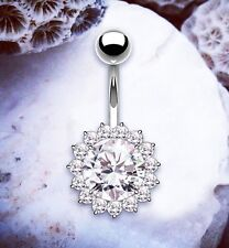 FELICITY Flower Navel Bars Rhinestone Belly Bar Gem Belly Button Bars Navel Bar