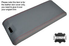 RED STITCH ARMREST LID GREY LEATHER COVER FITS MERCEDES SL CLASS R129 89-02