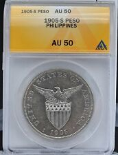 1905-S U.S. Philippines Silver Peso ANACS AU 50 Curved Serif