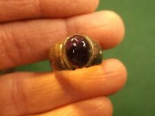 INTERESTING OLD VTG? HANDCRAFTED LADIES STERLING SILVER RING + AMETHYST CABOCHON