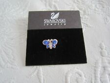 Final Clearance Genuine Swarovski Swan Signed Blue Crystal Butterfly Tack Pin