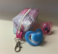 Dummy holder,Soother Case,Pacifier Holder Handmade in Pink Elephant oilcloth