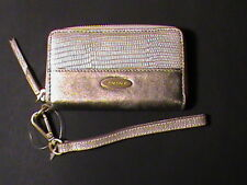 Elie Tahari genuine leather clutch wallet wristlet coin-purse pewter silver NEW