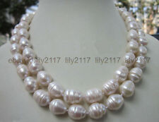 34 INCH  Huge 10-12MM WHITE FRESHWATER Cultured BAROQUE PEARL NECKLACE