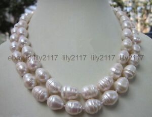 34 INCH Huge 10-12MM WHITE FRESHWATER Cultured BAROQUE PEARL LONG NECKLACES