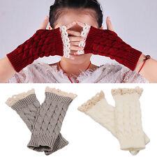 AM_ Women Fingerless Lace Gloves Soft Knitted Warm Long Mitten Warmers Gracious