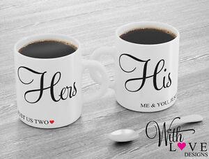 SET OF 2 MUGS HIS & HERS COFFEE MUG TEA CUP BIRTHDAY CHRISTMAS WEDDING GIFT