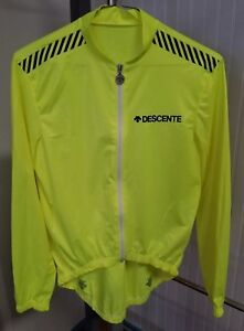 Descente Neon Yellow Racing Cycling Jacket Jersey Top Size Small Style Hans Hess