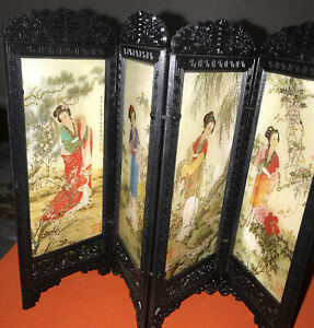 Vintage Miniature Oriental  Screen / Room Divider Each One Oriental Stamp