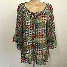 Ivy Jane Top Size Small Hounds tooth 3/4 Bell Sleeve Semi Sheer Ruffle Fall