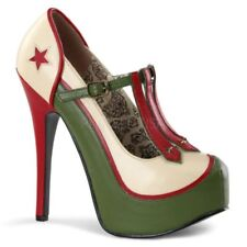 BORDELLO TEEZE-43 Plateau Pumps beige-oliv Riemchen Military-Style Rockabilly ..