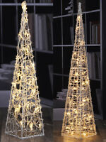 Pre-Lit Acrylic Pyramid Christmas Tree 50 30 LED Warm White Xmas Decoration
