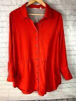 Womens Soft Sorroundings Size Large Petite Burnt Orange Tunic Blouse Long Sleeve