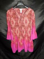 Catherines 2X 22W 24W Red Pink Print Shirt Micropleat Silver Studded Tie V Neck
