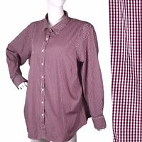 Lands End sz 24W Women's Burgundy Checkered NO IRON Buttoned Plus Shirt Blouse