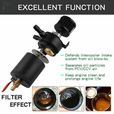Oil Catch Can Tank Reservoir 2-Port With Breather Filter Drain Valve Universal