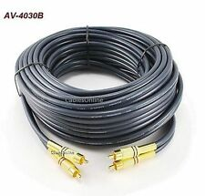 30ft 2-RCA to 2-RCA Gold-Plated Male to Male DJ/Mixer/Stereo System Audio Cable