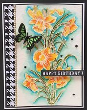 BIRTHDAY - EMBOSSED and WATER- COLORED flowers  - Handmade card - BY DEE