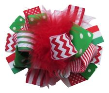 "NEW ""CHEVRON CHRISTMAS"" Fur Hairbow Alligator Clips Girls Ribbon Bows 5.5 Inches"