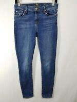 7 For All Mankind The Ankle Skinny Womens Blue Distressed Jeans Size 25