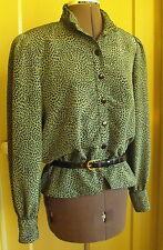 Leslie Fay GREEN & BLACK Long Sleeve Button-Down Peplum JACKET/BLOUSE ~ Size 12