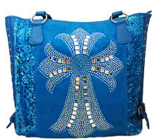Turquoise Blue Leather & Crystal Rhinestone Cross Tote Bag Shoulder Purse
