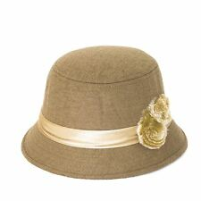 Plain Band with Fur Flower Cloche-Bucket Hat