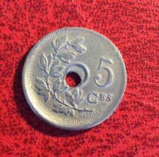 Belgique - Très Rare /Spectaculaire 5 centimes 1927 FR  fautée Trou - Casquette