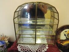 """13 1/2"""" Tall Glass and Brass Large Curio Display Cabinet"""