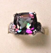 GORGEOUS 9.5ct CUSHION CUT MYSTIC TOPAZ AND DIAMOND RING IN STERLING SILVER  SIZ