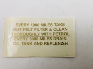 Every 1000 Mile Clean Filter Sticker for Vintage AJS Motorcycles #33c