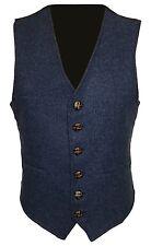 Navy Blue Mens Wool Tweed Slim Fitted Vest Waistcoat S M L XL 2XL 3XL