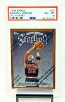 1996 Topps Finest w Coating HOF Bulls MICHAEL JORDAN Basketball Card PSA 8 NM-MT