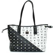 MCM Black White Colorblock Diagonal Stud Pewter Leather Handbag Bag New