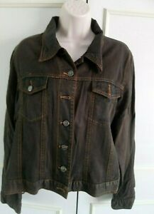 **EAST** brown cotton blend denim jacket - Size 16