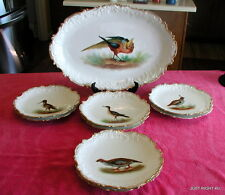 "Coiffe Limoges Hand painted (Game Birds) 18"" PLATTER & EIGHT DINNER PLATES Exc"