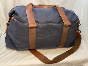J.CREW Abingdon AG971 Weekender Duffel Navy Blue Canvas Burnished Leather $298