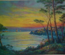 Sea Scene at Twilight, Sailboats, Trees, Beautiful!!!