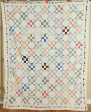 GORGEOUS Vintage 30's 9-Patch Snowball Antique Quilt Top ~NICE SAWTOOTH BORDER!