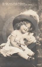 1911 RPPC of GIRL IN GLASSES w WHITE CAT (#1) Postcard REAL PHOTO Photograph